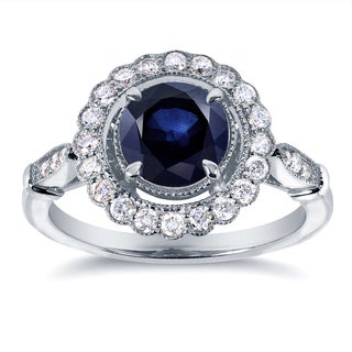Annello 14k White Gold Sapphire and 1/3ct TDW Diamond Ring (G-H, I1-I2)