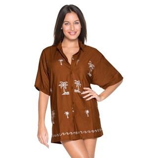 La Leela Women's Brown/ White Palm Tree Embroiderered Button Down Hawaiian Shirt