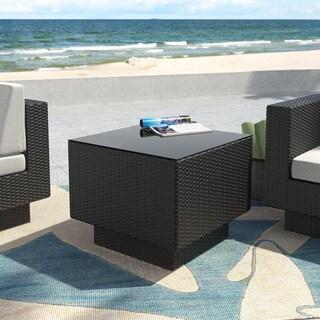 Park Terrace Textured Black Weave Patio End Table