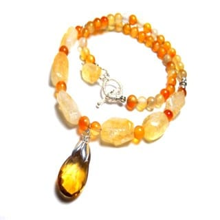 Cognac Citrine and Agate Toggle Necklace