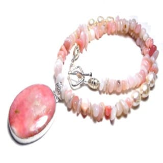 Handmade Pink Opal and Freshwater Pearl 18-inch Toggle Necklace (9-10mm)