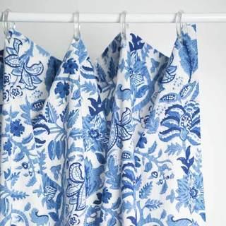 Block-Printed Indigo Vine Shower Curtain (India)