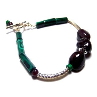 Midnight Garnet and Malachite Toggle Bracelet