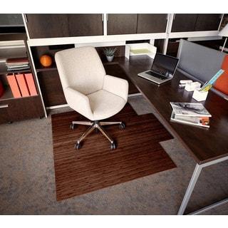 Eco Bamboo Roll-Up Rectangular Walnut Chair Mat with Lip (55 x 57)