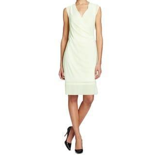 T Tahari Chandra Green Faux Wrap Dress