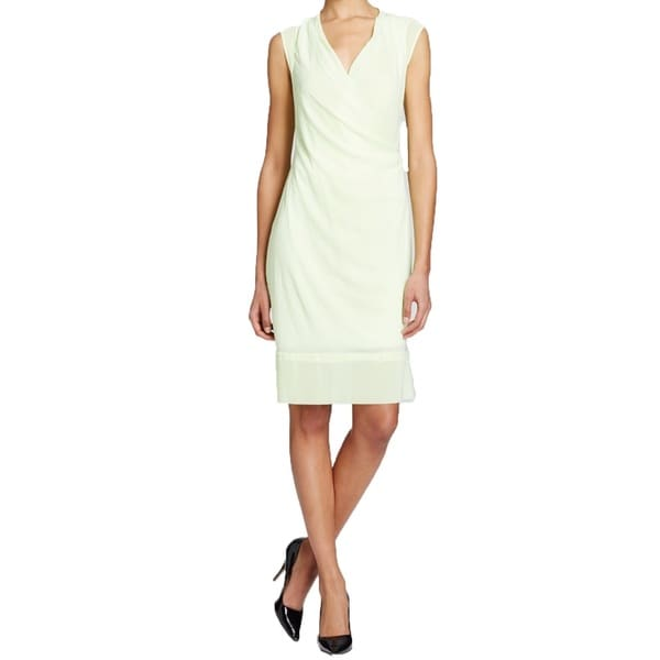 T Tahari Chandra Green Faux Wrap Dress
