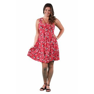 24/7 Comfort Apparel Women's Plus Size Aqua-Red Rose Abstract Neckline Dress