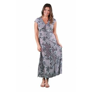 24/7 Comfort Apparel Women's Plus Size Geometric Paisley Maxi Dress