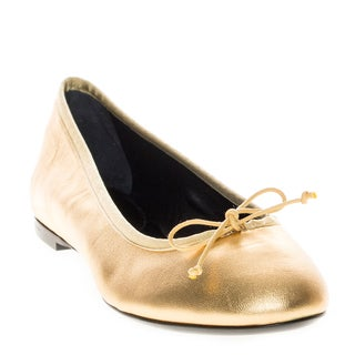 Saint Laurent Leather Gold Metallic Dance Ballerina Flats