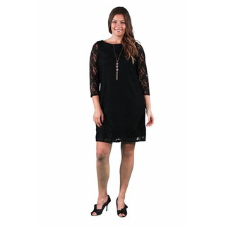 24/7 Comfort Apparel Women's Plus Size Black Lace Dress