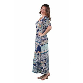 24/7 Comfort Apparel Women's Plus Size Earth Paisley Printed Maxi