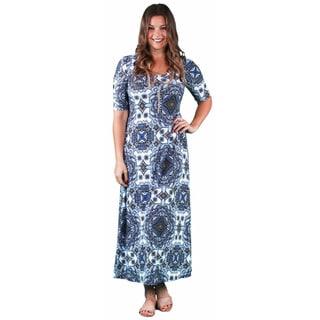 24/7 Comfort Apparel Women's Plus Size Blue Mandala Printed Maxi