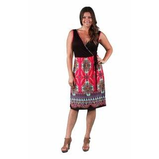 24/7 Comfort Apparel Women's Plus Size Pink-Brown Mandala Printed Dress