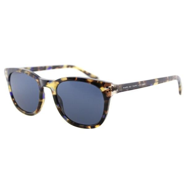 Marc by Marc Jacobs MMJ 458/S A8T Brown Havana Beige Plastic Square Sunglasses Blue Lens
