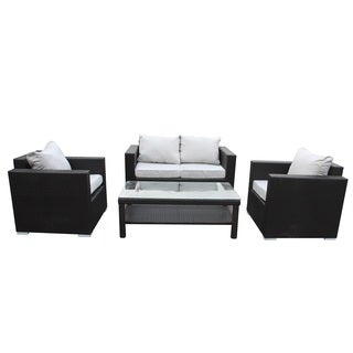 Wicker Espresso Finish Patio Loveseat With Cushion And