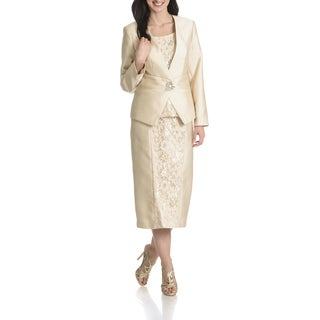 Giovanna Collection Women's Pleated Lace 3 Piece Skirt Suit
