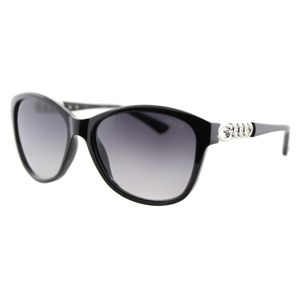 Guess GU 7451 01B Shiny Black Plastic Fashion Sunglasses Grey Gradient Lens