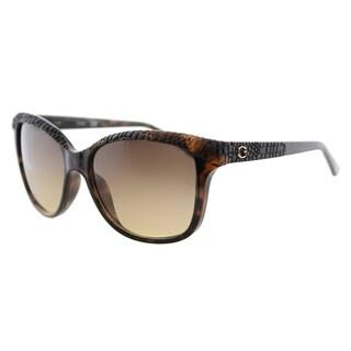 Guess GU 7401 52F Dark Havana Plastic Square Sunglasses Brown Gradient Lens