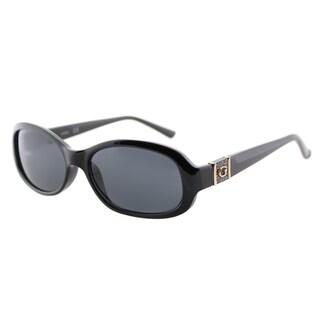 Guess GU 7424 01A Shiny Black Plastic Oval Sunglasses Grey Lens