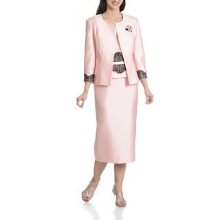 Ella Belle Women's Contrast Lace 3-Piece Skirt Suit
