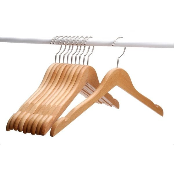 J.S. Hanger Solid Beech Wooden Coat/ Jacket Hangers with Polished Nickel-plated Hook/ Natural Finish (Set of 10 Hangers)