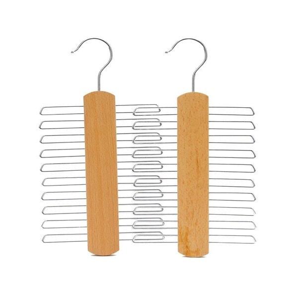 J.S. Hanger Natural 20-ties/ Belts Hanger/ Beech Wood Tie Multifunctional Accessories Hanger/ Chrome Hardware (Pack of 2)