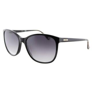Guess GU 7426 01B Shiny Black Plastic Cat-Eye Sunglasses Grey Gradient Lens