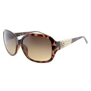 Guess GU 7418 52F Havana Gold Plastic Fashion Sunglasses Brown Lens
