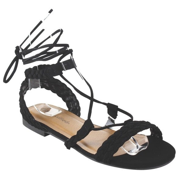 Cityclassified IA42 Women's Braided Strap Lace-up Ankle Tie Flat Sandals