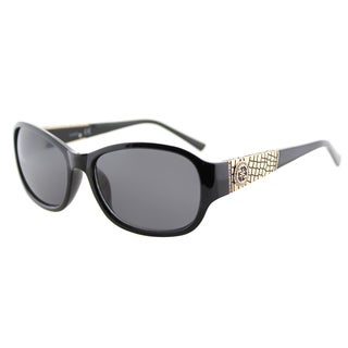 Guess GU 7425 01A Shiny Black Plastic Oval Sunglasses Grey Lens
