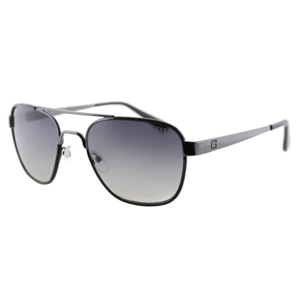 Guess GU 6853 08B Gunmetal Black Metal Aviator Sunglasses Grey Gradient Lens