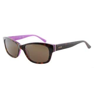 Guess GU 7409 52E Dark Havana On Pink Plastic Cat-Eye Sunglasses Brown Lens