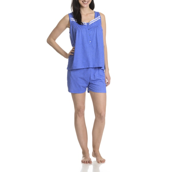 La Cera Women's Blue Polka Dot Pajama Shorts 2-piece Set