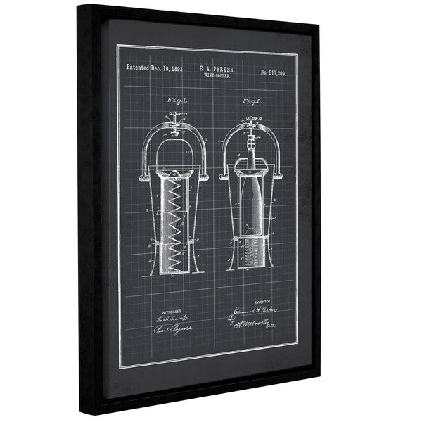 ArtWall Jo Moulton's Wine Coolers Black, Gallery Wrapped Floater-framed Canvas