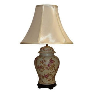 Crown Lighting 1-light Antique Pink Floral Crackle Table Lamp with White Silk Bell Shade