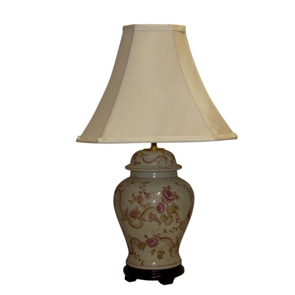 Crown Lighting 1-light Antique Pink Floral Crackle Table Lamp with Off-White Silk Square Shade