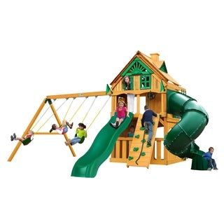 Gorilla Playsets Mountaineer Clubhouse Treehouse Swing Set with Fort Add-On and Amber Posts