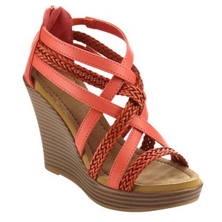 Beston BC05 Women's Criss Cross Strappy Low Platform Wedges about one size big
