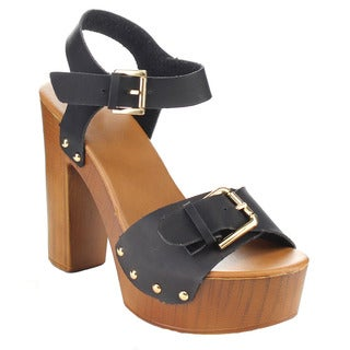 BETANI FA86 Women's Platform Ankle Strap Studded Chunky Heel Sandals