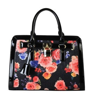 Diophy Patent Faux Leather Floral Design Satchel with Lock Decor