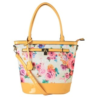 Diophy Patent Faux Leather Floral Print Bucket Tote with Lock Decor