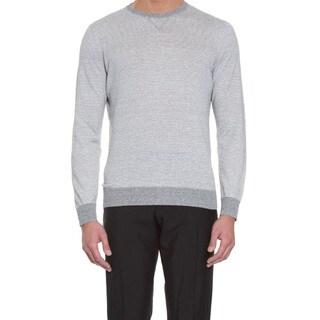 Ermenegildo Zegna Gray And White Striped Sweater
