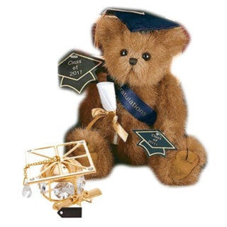 Bearington Plush Smarty 2017 Graduation Teddy Bear with Matashi 24k Goldplated Graduation Hat Ornament with Clear Crystals