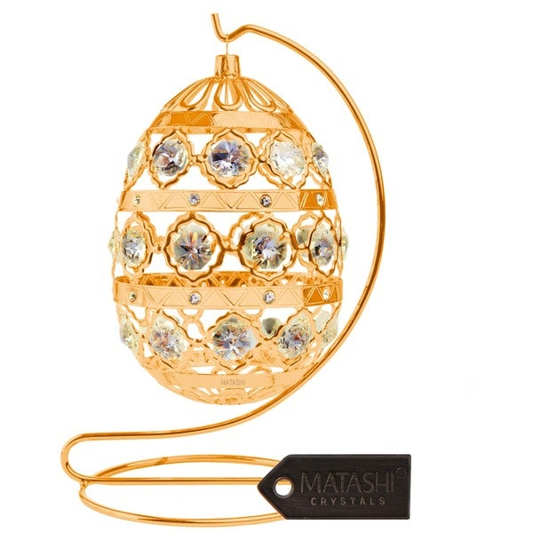 24k Goldplated Ornate Easter Egg Ornament Made with Genuine Matashi Crystals 17878771