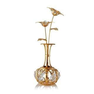 24k Gold Plated 'Sun Flowers In A Vase' Table Top Ornament Made with Genuine Matashi Crystals