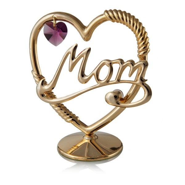 24k Goldplated Mom in a Heart Table Top Ornament Made with Genuine Lavender/Purple Matashi Crystals