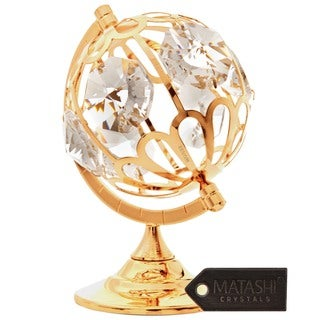 24k Goldplated Globe Table Top Made with Genuine Matashi Crystals