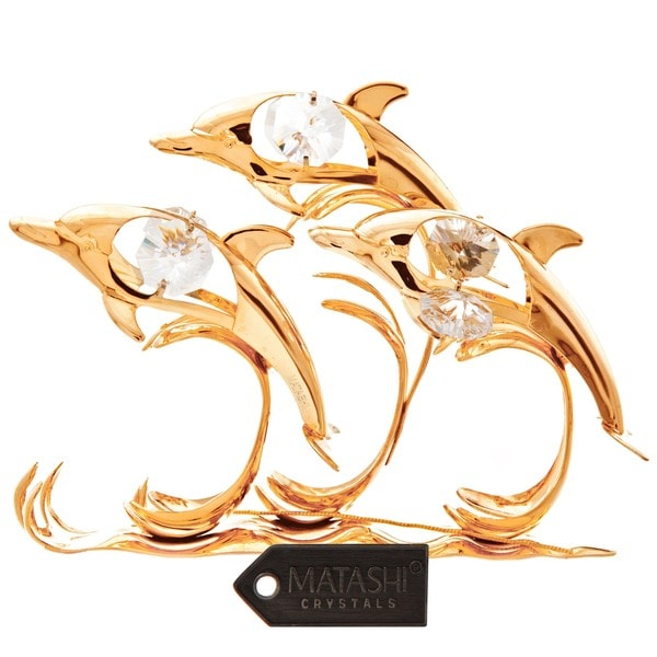 24k Goldplated Dolphin Trio Riding Waves Table Top Made with Genuine Matashi Crystals
