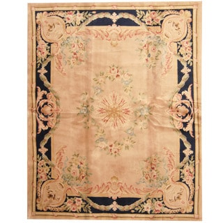 Herat Oriental Indo Hand-knotted Aubusson Tan/ Navy Wool Rug (7'9 x 9'9)