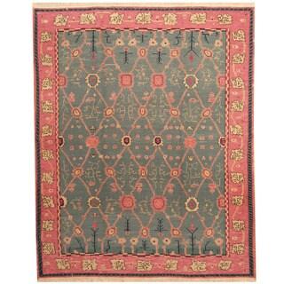 Herat Oriental Indo Hand-woven Soumak Kilim Teal/ Pink Wool Rug (8' x 10')
